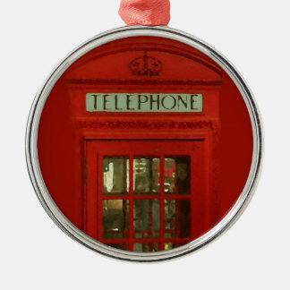 赤い電話ボックスのクリスマスツリーのオーナメント メタルオーナメント