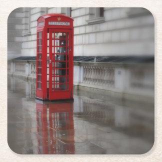 赤い電話箱-ロンドンのコースターの反射 スクエアペーパーコースター