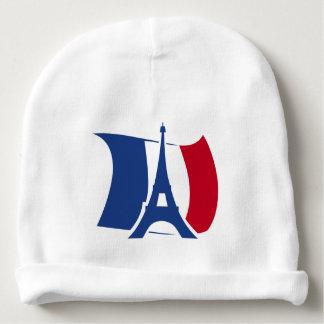 、赤い青い、エッフェル塔が付いているフランスの旗白い ベビービーニー