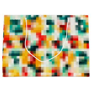赤い青緑の黄色の白の抽象芸術パターン ラージペーパーバッグ