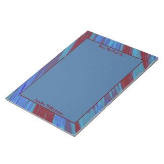 赤い青色の棒の抽象芸術 ノートパッド