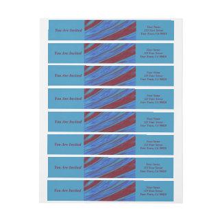赤い青色の棒の抽象芸術 ラップアラウンドラベル