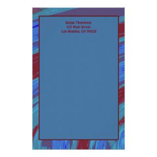 赤い青色の棒の抽象芸術 便箋