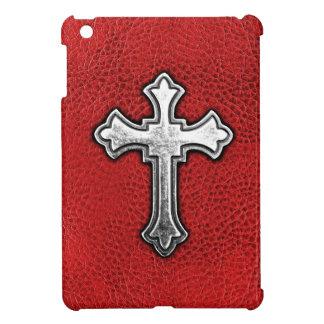 赤い革の金属の十字 iPad MINIケース