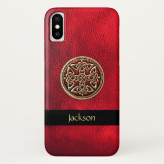 赤い革ケルト結び目模様のiPhone Xの箱を個人化して下さい iPhone X ケース