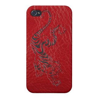赤い革トラ iPhone 4/4Sケース