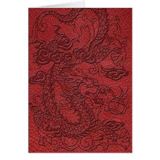 赤い革プリントのエンボスのドラゴン カード