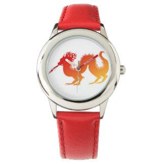 赤い革紐が付いている赤いドラゴンの腕時計 腕時計