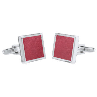 赤い革質 シルバー カフスボタン