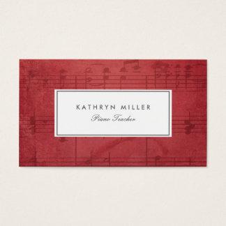 赤い音楽は名刺に注意します 名刺