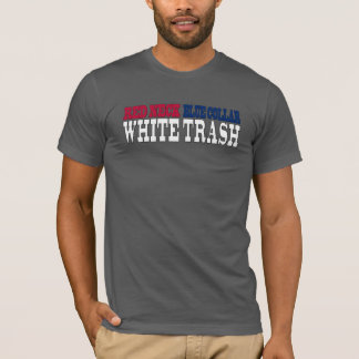 赤い首のブルーカラーのプアホワイトの文字 Tシャツ