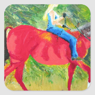 赤い馬およびブロンドの美しい スクエアシール
