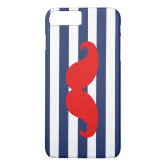 赤い髭および濃紺のストライプ iPhone 8 PLUS/7 PLUSケース