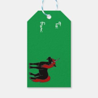 赤い鬣を搭載する黒いユニコーン ギフトタグ