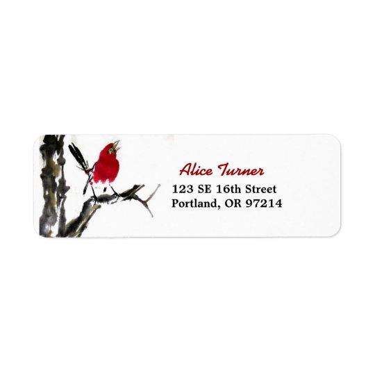 赤い鳥の差出人住所ラベル 返信用宛名ラベル