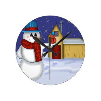 赤い鳥の民芸の雪だるま ラウンド壁時計