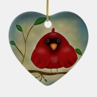 赤い鳥の(鳥)ショウジョウコウカンチョウ セラミックオーナメント