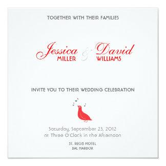 赤い鳴き鳥のモダンな結婚式の招待 カード