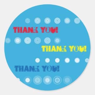 赤い黄色および青は円のステッカー感謝していしています ラウンドシール