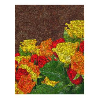 赤い黄色ブラウンの花の抽象芸術 レターヘッド