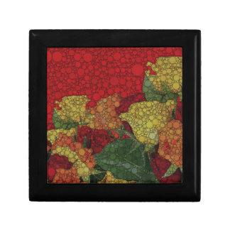 赤い黄色緑の花柄の抽象芸術 ギフトボックス