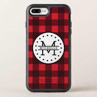 赤い黒いバッファローの格子縞の樵の名前のモノグラム オッターボックスシンメトリーiPhone 8 PLUS/7 PLUSケース