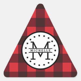 赤い黒いバッファローの格子縞の樵の名前のモノグラム 三角形シール