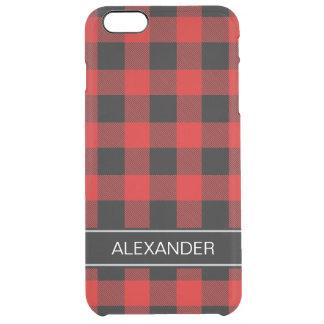 赤い黒いバッファローの点検の格子縞の名前のモノグラム クリア iPhone 6 PLUSケース