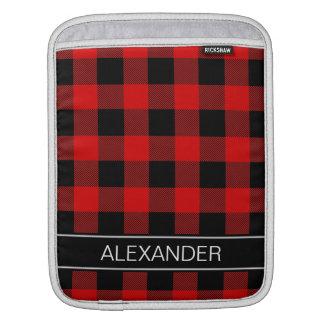 赤い黒いバッファローの点検の格子縞の名前のモノグラム iPadスリーブ