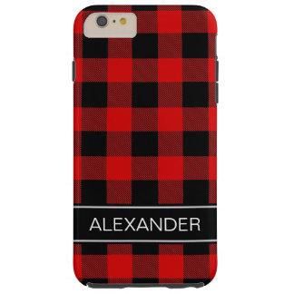 赤い黒いバッファローの点検の格子縞の名前のモノグラム TOUGH iPhone 6 PLUS ケース