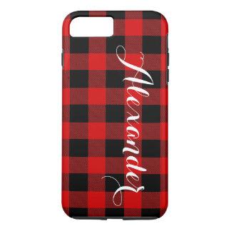 赤い黒いバッファローの点検の格子縞の名前のモノグラムNL iPhone 8 PLUS/7 PLUSケース