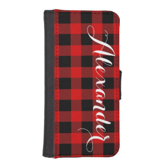 赤い黒いバッファローの点検の格子縞の名前のモノグラムNL iPhoneSE/5/5sウォレットケース