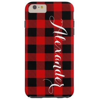 赤い黒いバッファローの点検の格子縞の名前のモノグラムNL TOUGH iPhone 6 PLUS ケース