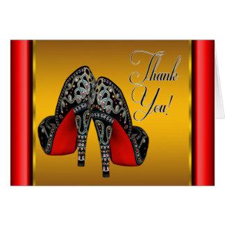 赤い黒および金ゴールドのハイヒールは感謝していしています ノートカード