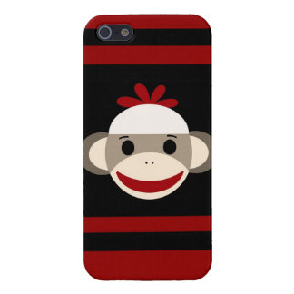 赤い黒のかわいい微笑のソックス猿の顔 iPhone SE/5/5sケース