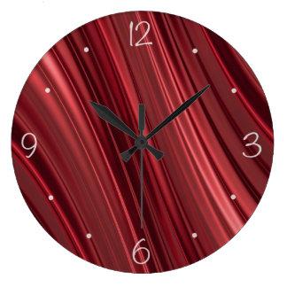 赤い黒はストライプ影で覆いました ラージ壁時計