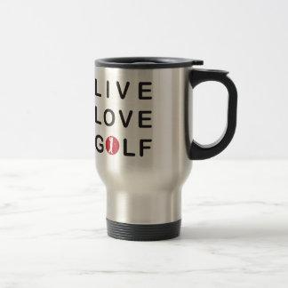 赤い黒をゴルフをする生きている愛ゴルフ トラベルマグ
