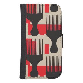 赤い黒髪の櫛のアフリカの一突き ウォレットケース
