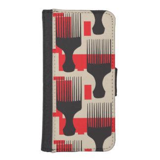 赤い黒髪の櫛のアフリカの一突き iPhoneSE/5/5sウォレットケース