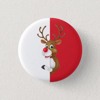 赤い鼻のトナカイのクリスマスPinボタン 3.2cm 丸型バッジ