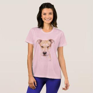 赤い鼻のピット・ブル犬の芸術のTシャツ Tシャツ