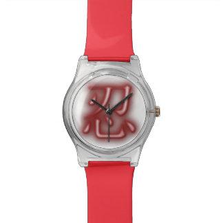 """赤い""""エアブラシ""""のスタイルNINの漢字のMay28thの腕時計 腕時計"""
