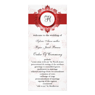 赤い|モノグラム|結婚|プログラム ラックカード