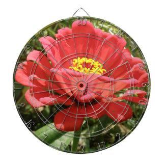 赤い《植物》百日草の投げ矢板 ダーツボード