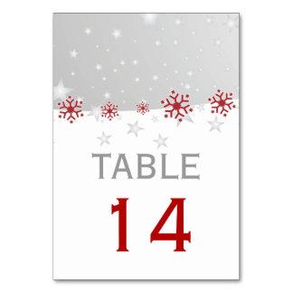 赤い、灰色の雪片のモダンな結婚式のテーブル数 カード