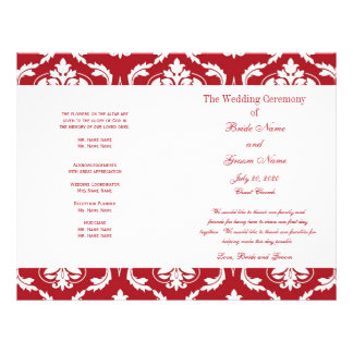赤い|白い|ヴィンテージ|ダマスク織|結婚|プログラム パーソナライズチラシ広告