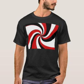 赤い、白黒ねじれ Tシャツ
