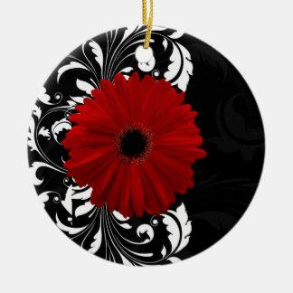 赤い、白黒スクロールガーベラのデイジー セラミックオーナメント