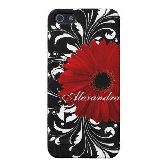 赤い、白黒スクロールガーベラのデイジー iPhone 5 ケース