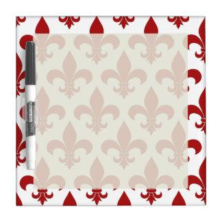 赤い(紋章の)フラ・ダ・リのフランス人の記号 ホワイトボード